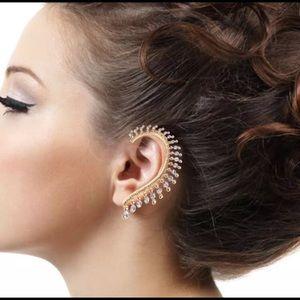 Gold Crystal Large Sparkles Punk Ear Cuff